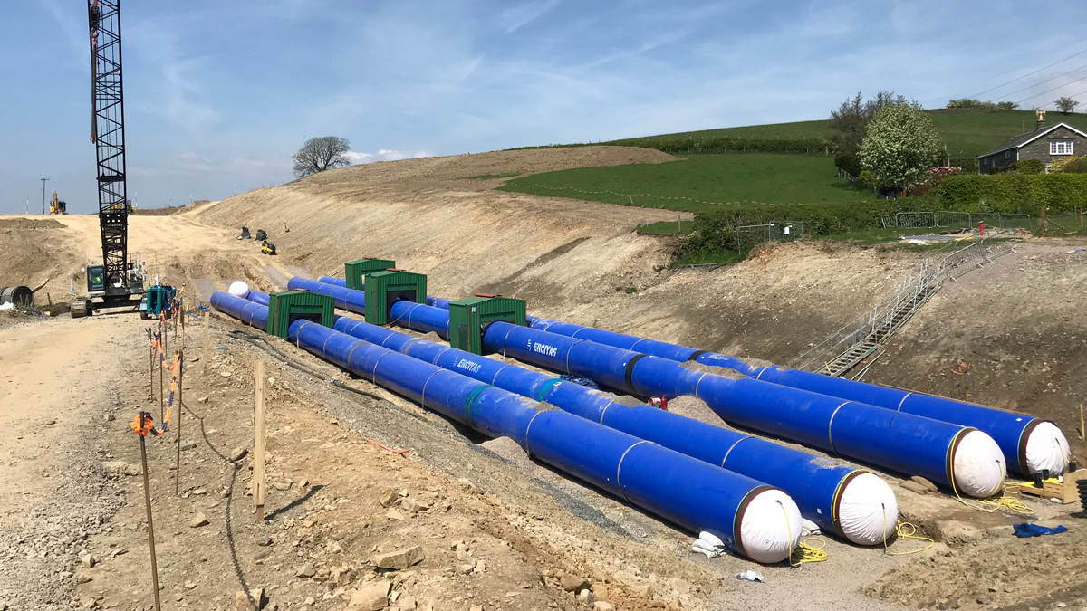 Steel pipes with a 3-layer PE external coating and DWI approved internal coating for the Hallbank Tunnel Replacement Project
